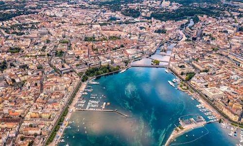 A birdseye view of a port city.